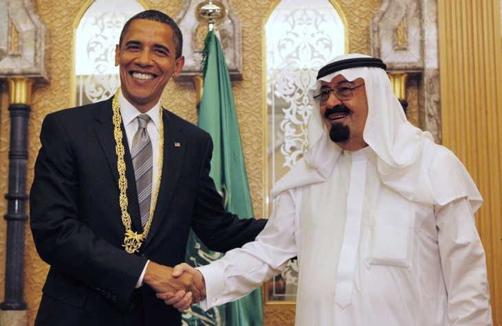 Barack Obama con el antiguo Rey Abdalá de Arabia Saudí