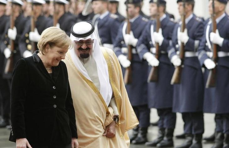Angela Merkel con el antiguo Rey Abdalá de Arabia Saudí