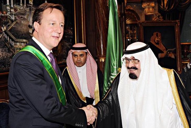 David Cameron con el antiguo Rey Abdalá de Arabia Saudí