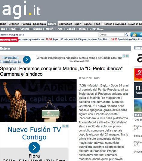 Podemos conquista Madrid, según la portada de Agenzia Giornalistica Italia