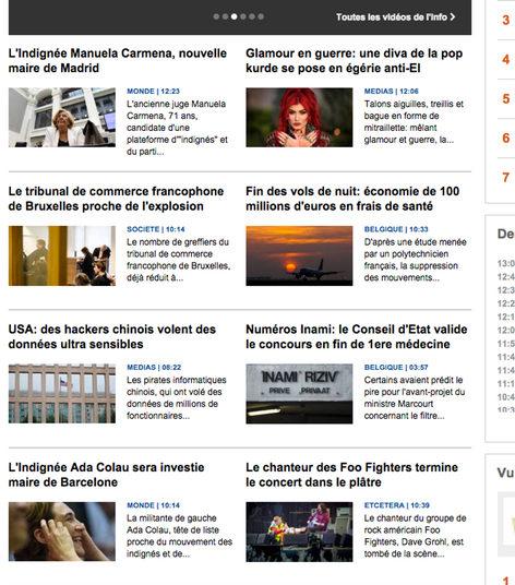 El sitio web de la radiodifusión belga lleva a su portada, entre otros, a Carmena