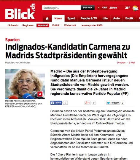 Uno de los portales noticieros más leídos de Suiza dice que los 'indignados' eligieron a Carmena