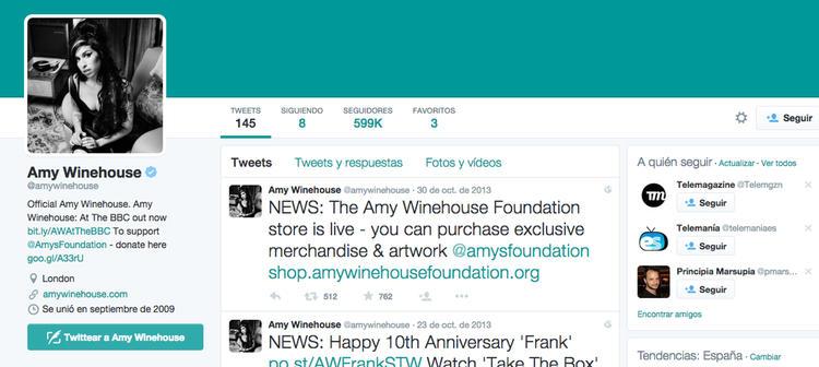 La cuenta de Amy Winehouse estuvo activa hasta octubre de 2013