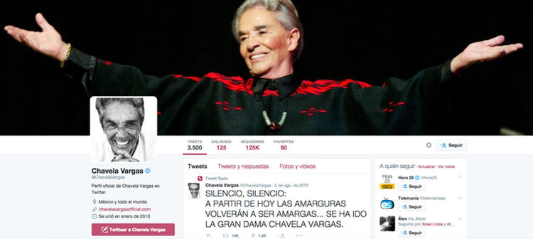 Un equipo sigue refrescando el perfil oficial de Chavela Vargas