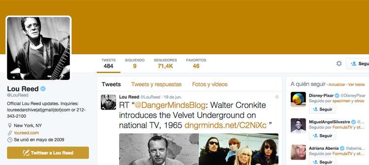 La cuenta de Twitter de Lou Reed sigue siendo actualizada por un equipo