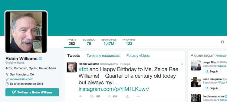 La actividad de la cuenta de Twitter de Williams cesó diez días antes de su muerte