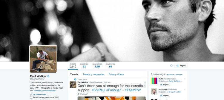 El perfil de Paul Walker es actualizado por el #TeamPW
