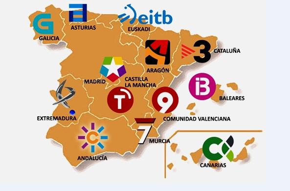 Mapa de las Radiotelevisiones públicas de España (Fuente: El Economista)