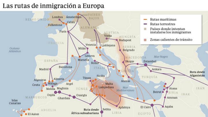 Principales rutas de inmigración en el Mediterráneo y Europa