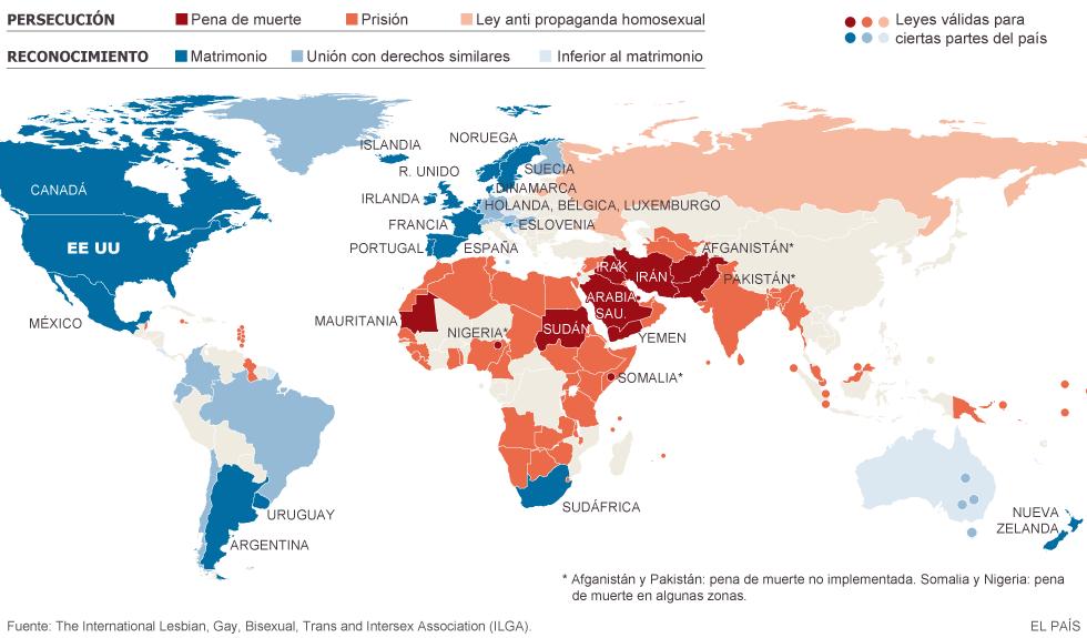 Panorama del matrimonio gay en el mundo (El País)