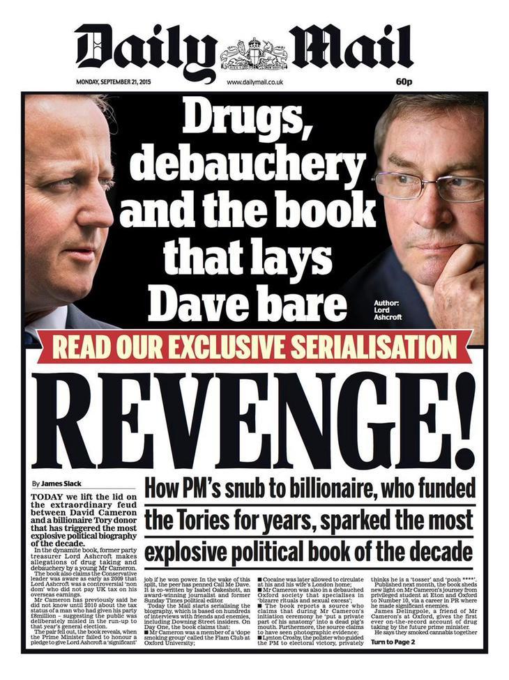 Portada del Daily Mail con el escándalo de Cameron y el cerdo