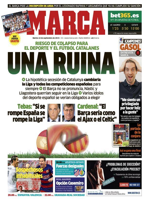 Portada del diario El Marca 22/09/2015