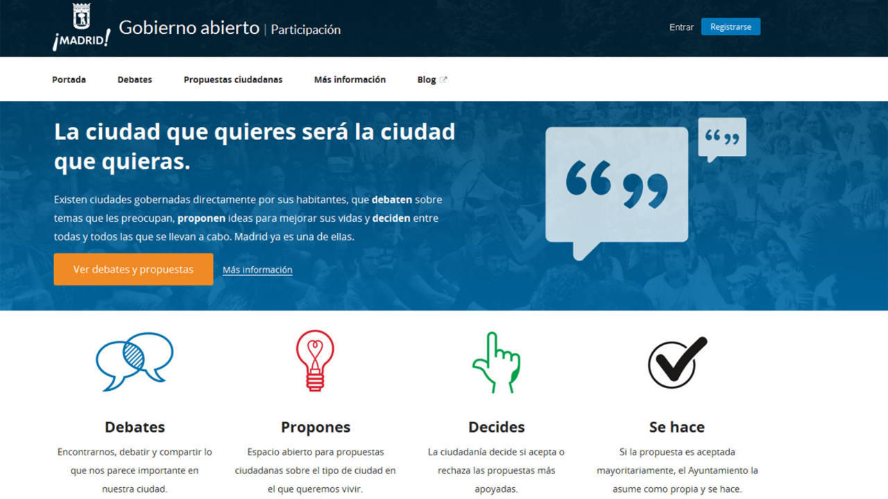 Web de Decide Madrid