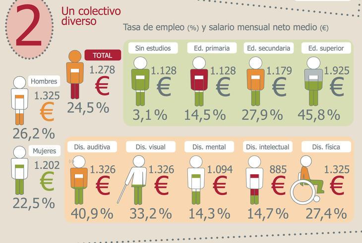 Tasa de empleo en función del tipo de discapacidad (Fuente: ODISMET)