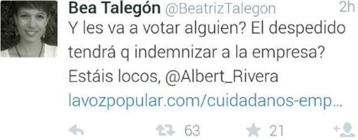 El tweet de Beatriz