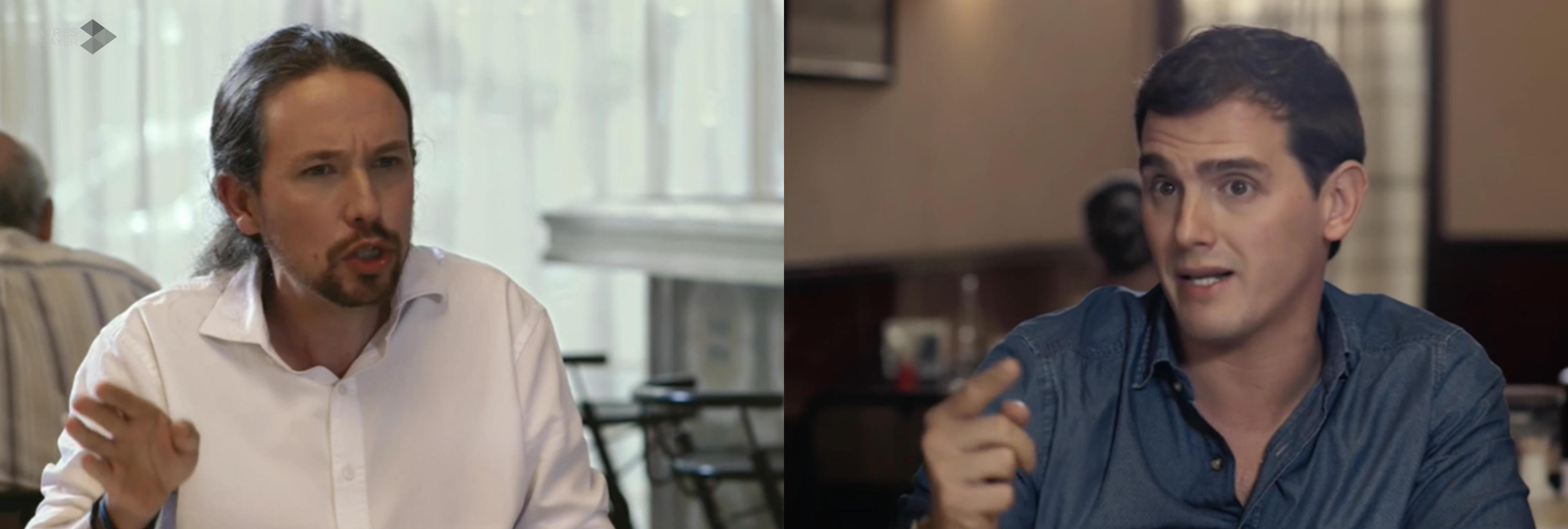 Pablo Iglesias y Albert Rivera anuncian medidas en su cara a cara