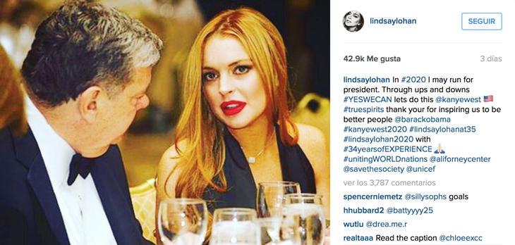 Lindsay Lohan quiere ser presidenta de EEUU