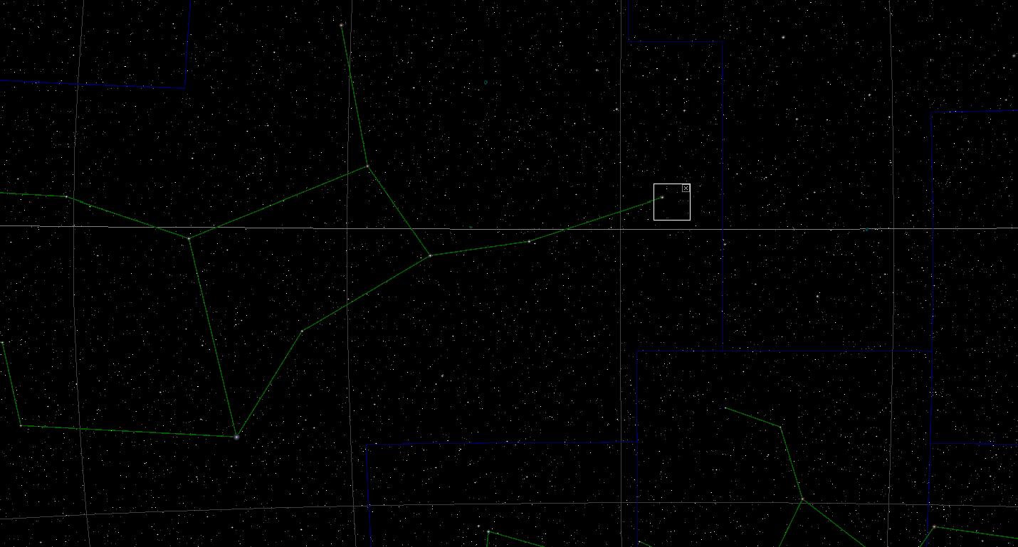 Constelación de Virgo y punto donde se encuentra la estrella