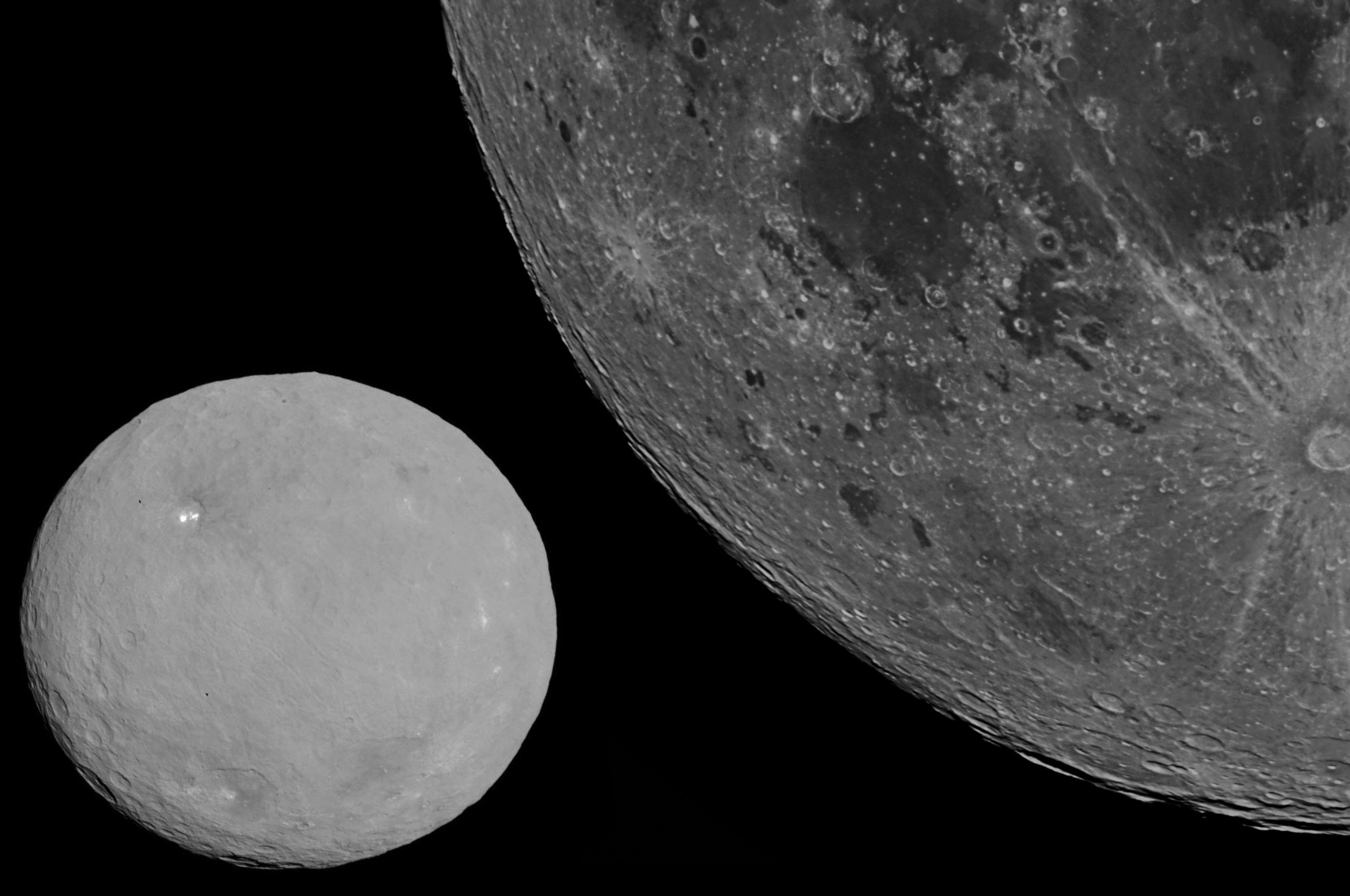 El planeta enano Ceres en comparación con la Luna