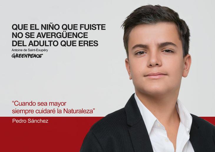 Pedro Sánchez de niño (Fuente: Greenpeace)