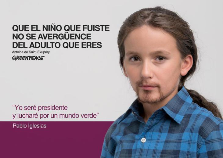 Pablo Iglesiasde niño (Fuente: Greenpeace)