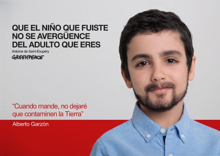 Alberto Garzón de niño (Fuente: Greenpeace)