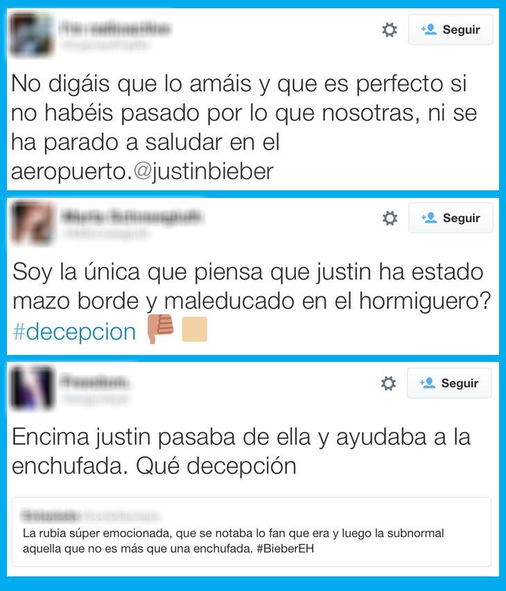Las fans se enfadan con la visita de Justin