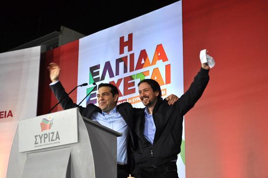 Pablo Iglesias y Alexis Tsipras en un acto de Syriza