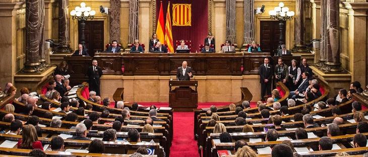 El Parlament catalán en la votación de hoy, 9 de noviembre