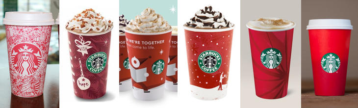 Diferentes vasos rojos de Starbucks