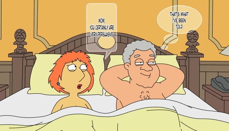 Lois Griffin con Bill Clinton en la cama