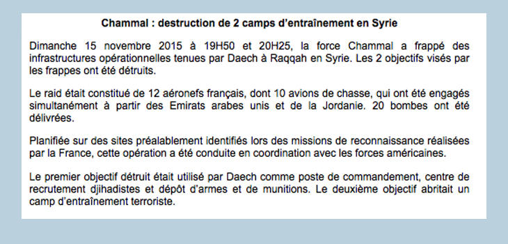 Comunicado de Francia tras los ataques (Twitter: @Defense_gouv)