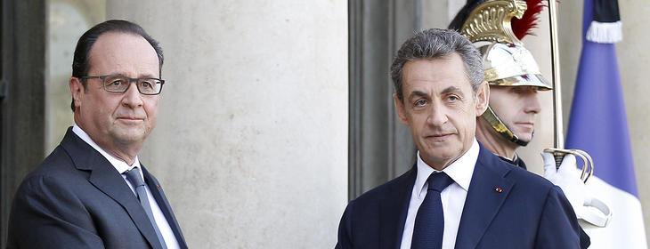 Hollande y Sarkozy en el homenaje a las víctimas de los atentados en París