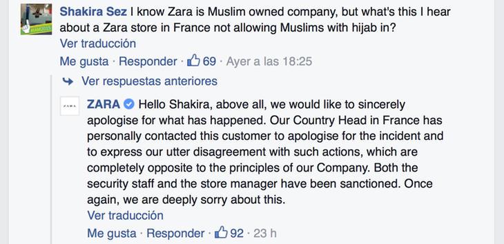 Mensaje de disculpa de Zara en su Facebook