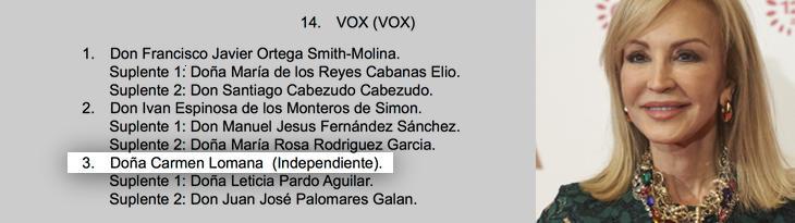 Carmen Lomana, en el BOE por Vox