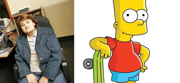 Sara Vivas y Bart Simpson