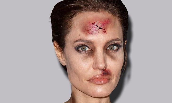 Angelina Jolie, golpeada (Facebook: Alexsandro Palombo)