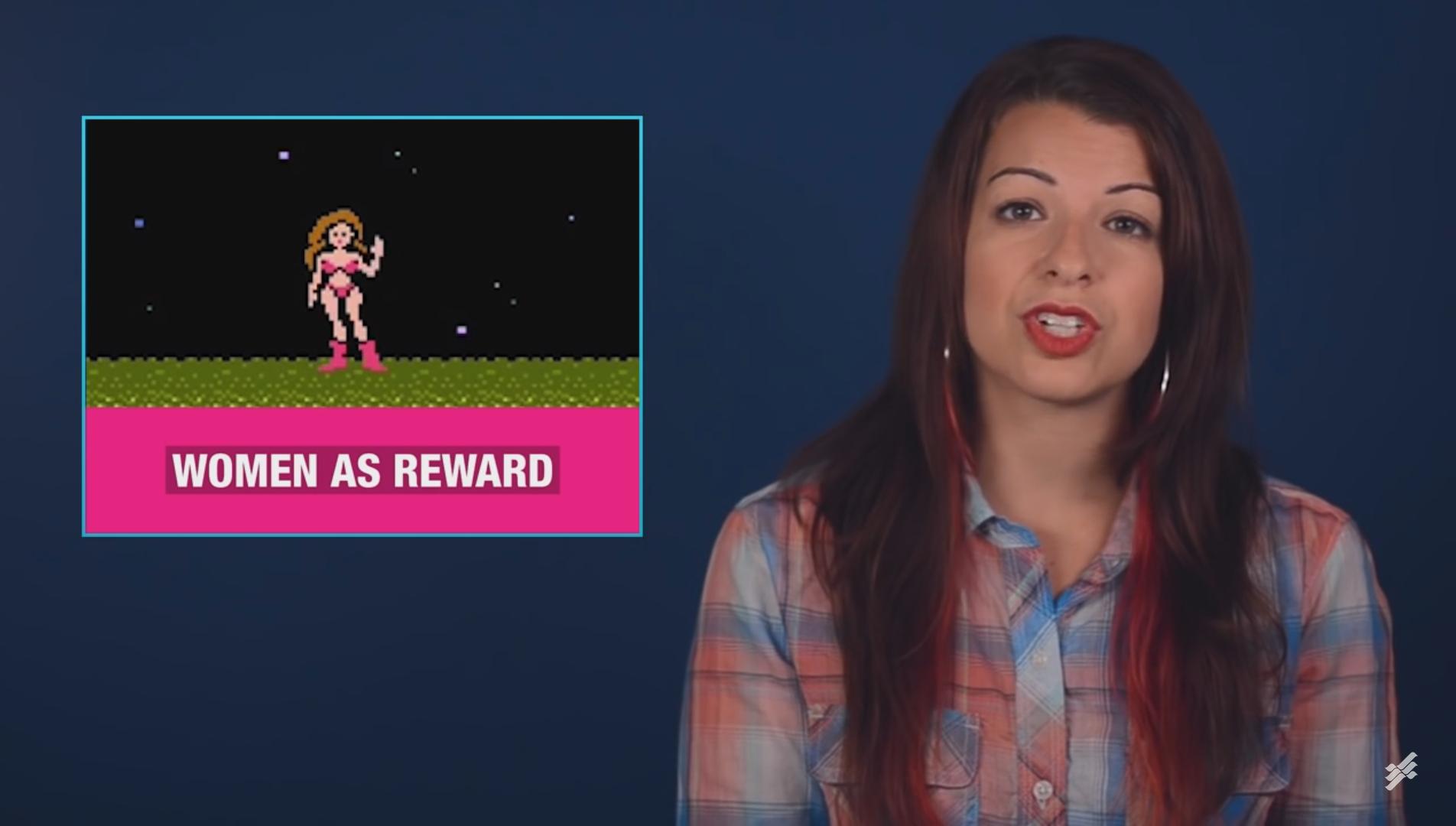 Anita Sarkeesian en uno de sus videos sobre clichés en videojuegos