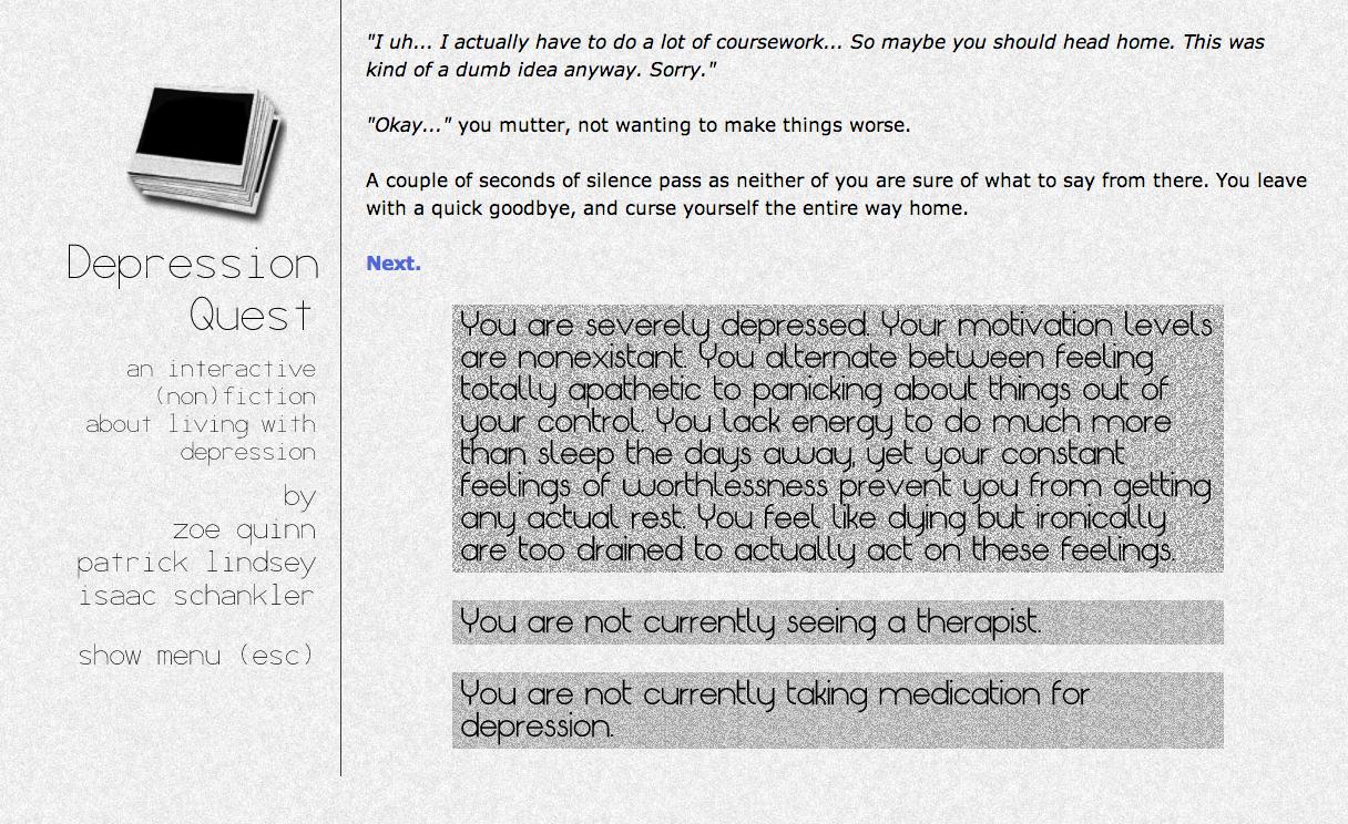 El juego de Zoe Quinn sobre la depresión