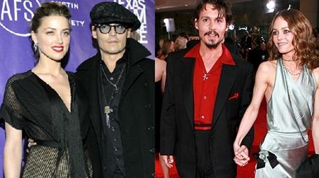 A la izquierda, el actor con su ex mujer, Vanessa Paradis. A la derecha, con su actual mujer, Amber Heard