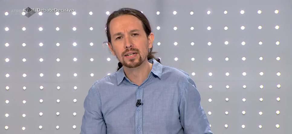 Pablo Iglesias durante el debate