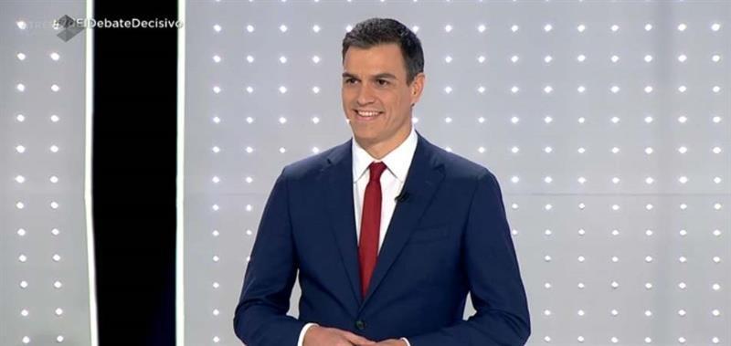 Pedro Sánchez durante el debate
