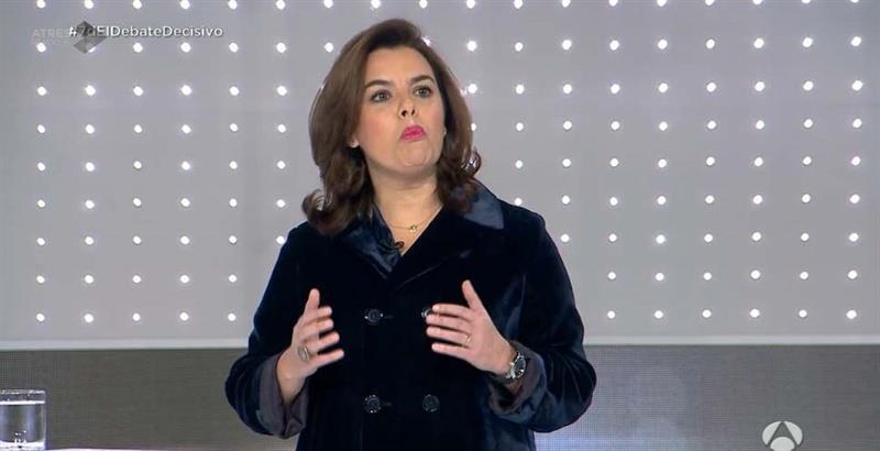 Soraya S. de Santamaría durante el debate