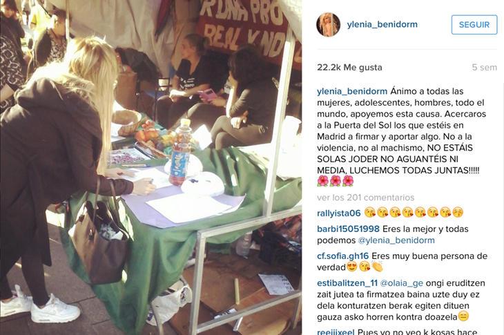 Ylenia firma contra el maltrato machista