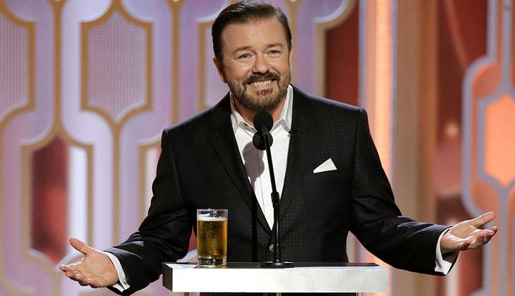 Ricky Gervais bebió cerveza durante la gala