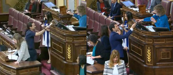 Iglesias y Rivera votan al presidente del Congreso