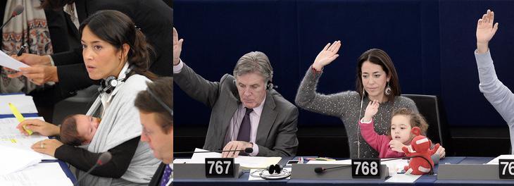 Licia Ronzulli con su hija Vittoria en el Parlamento Europeo