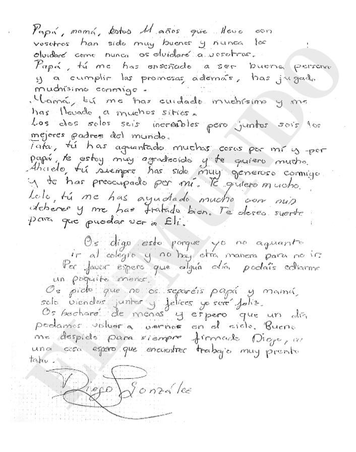 La carta escrita por Diego (El Mundo)