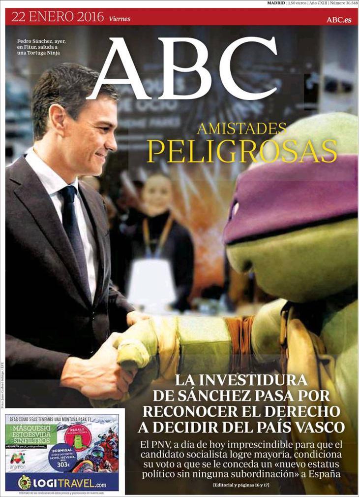 Sánchez y Donatello en la portada del ABC del 22 de enero de 2016