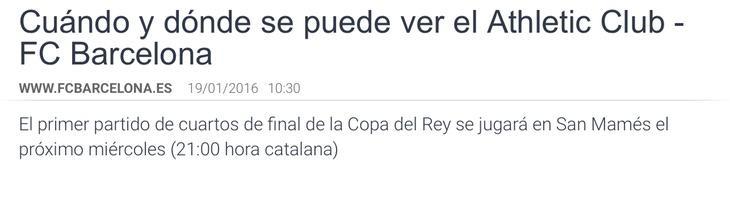 Anuncio del partido a las 21:00 'hora catalana' en la web del F.C. Barcelona